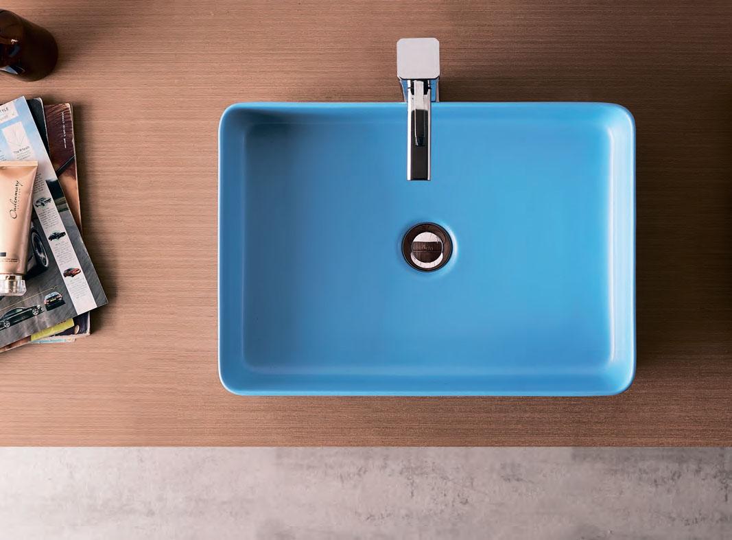 Раковина (умывальник) прямоугольная накладная тонкостенная Creo голубого синего цвета