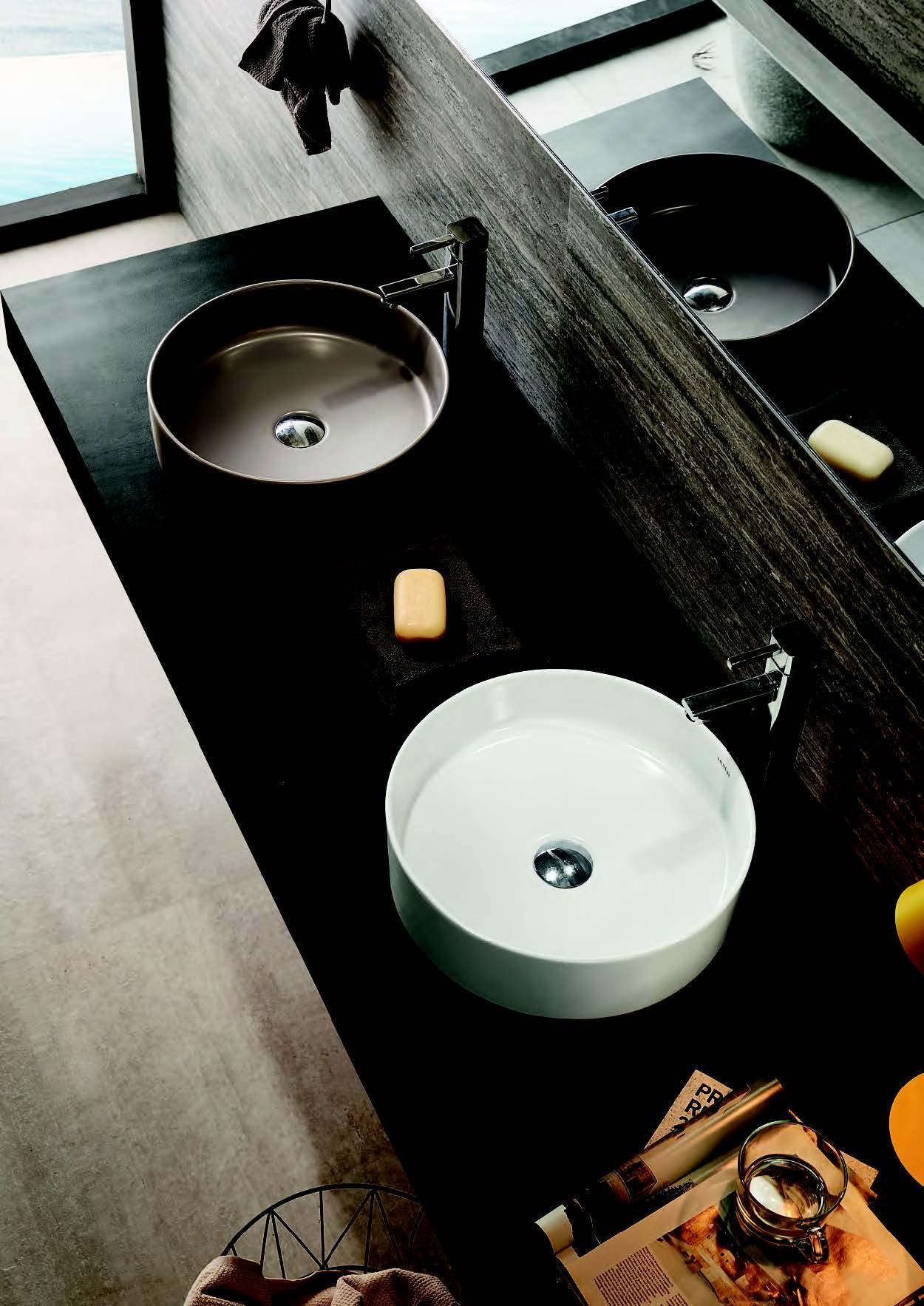 Раковины для умывальника накладная тонкостенная Creo цветные круглые